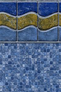 GLI Diamond Bordered Liner Sunset Beach With Mosaic Light Blue