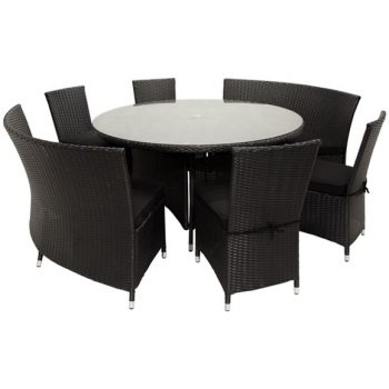 59 Round Wicker Dining Set Black