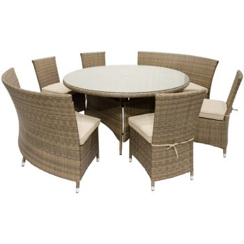 59 Round Wicker Dining Set Beige